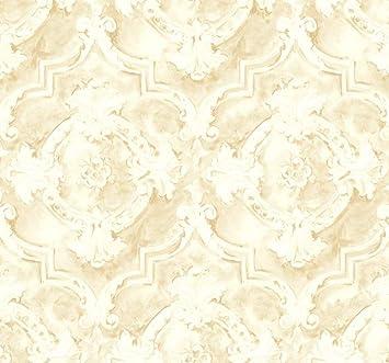 Vintage Victorian Damask Wallpaper Gold Cream Bold Design