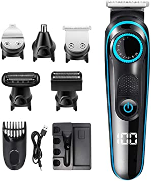 Cortadora de cabello 5 en 1, afeitadora eléctrica recargable sin ...
