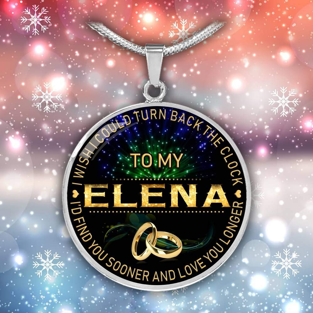 for Mom Wife Jewelry HusbandAndWife Necklace for Women to My Elena I Wish I Could Turn Back Clock I Will Find You Sooner Gifts Mother Necklace for Mom