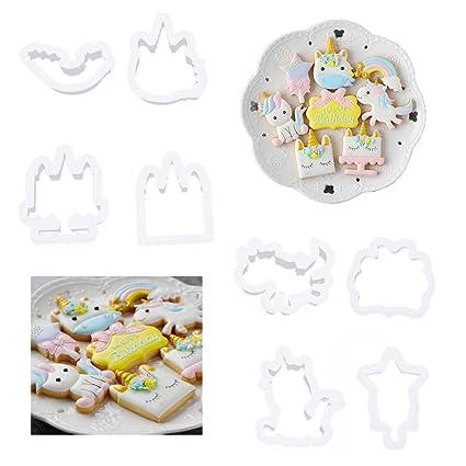 albeey 8 pieza Unicornio de galletas fondant Moldes para galletas Forma repostería accesorio de horneado
