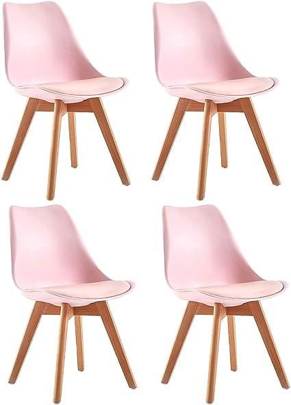 Oferta amazon: DORAFAIR Pack de 4 Retro sillas de Comedor Silla escandinava,Tulip Comedor/Silla de Oficina con Las piernas de Madera de Haya Maciza,Rosado