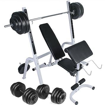 Physionics® - HNTLB06-SET1 - Banco de pesas + Mancuernas de 30 kg (2 x 15) + Barra de 60 kg: Amazon.es: Deportes y aire libre