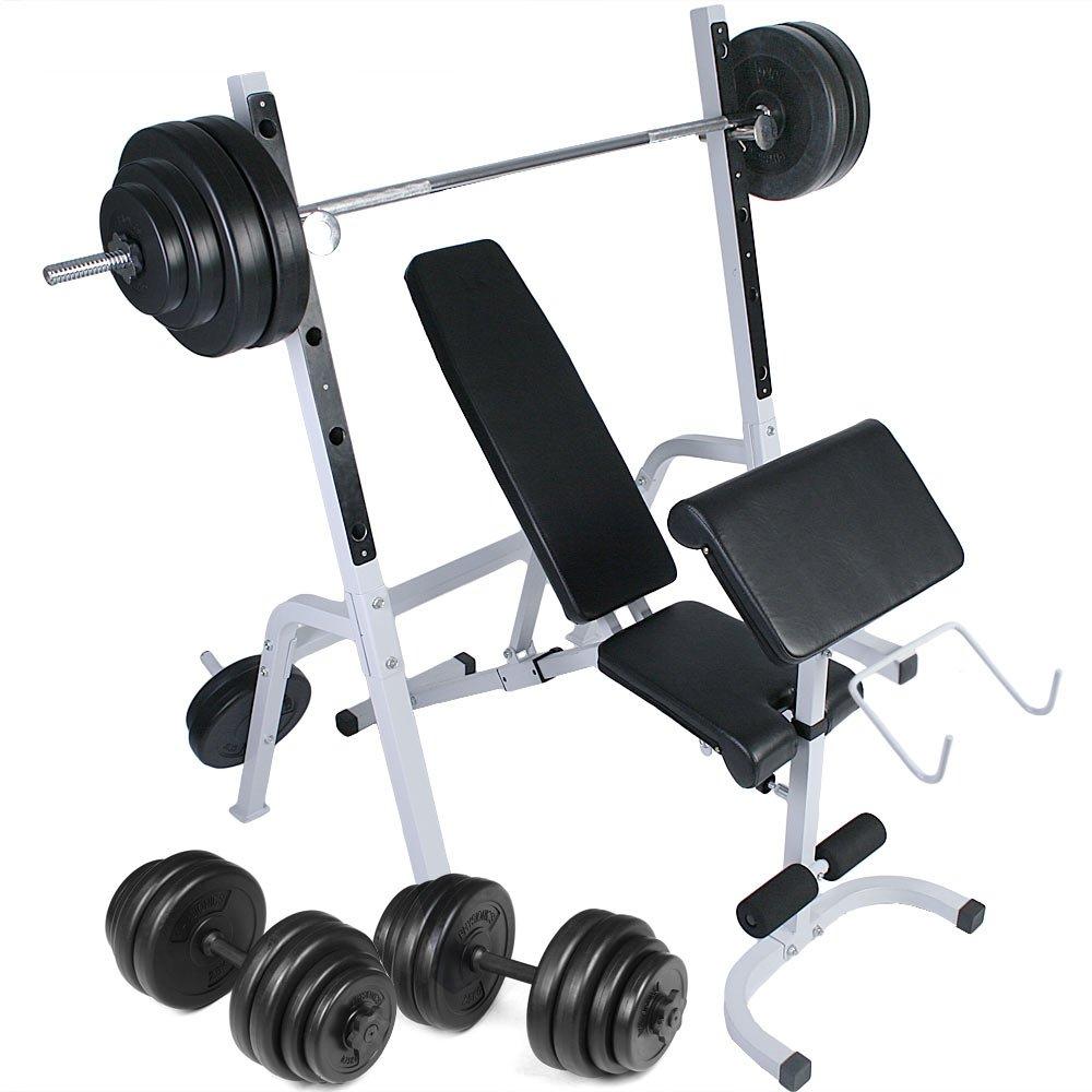 Physionics Multifunktions Hantelbank Trainingsbank Kraftstation Trainingsstation mit Hantelablage und Gewichthalter inkl. Hantelset 60kg bis 120kg - verstellbar