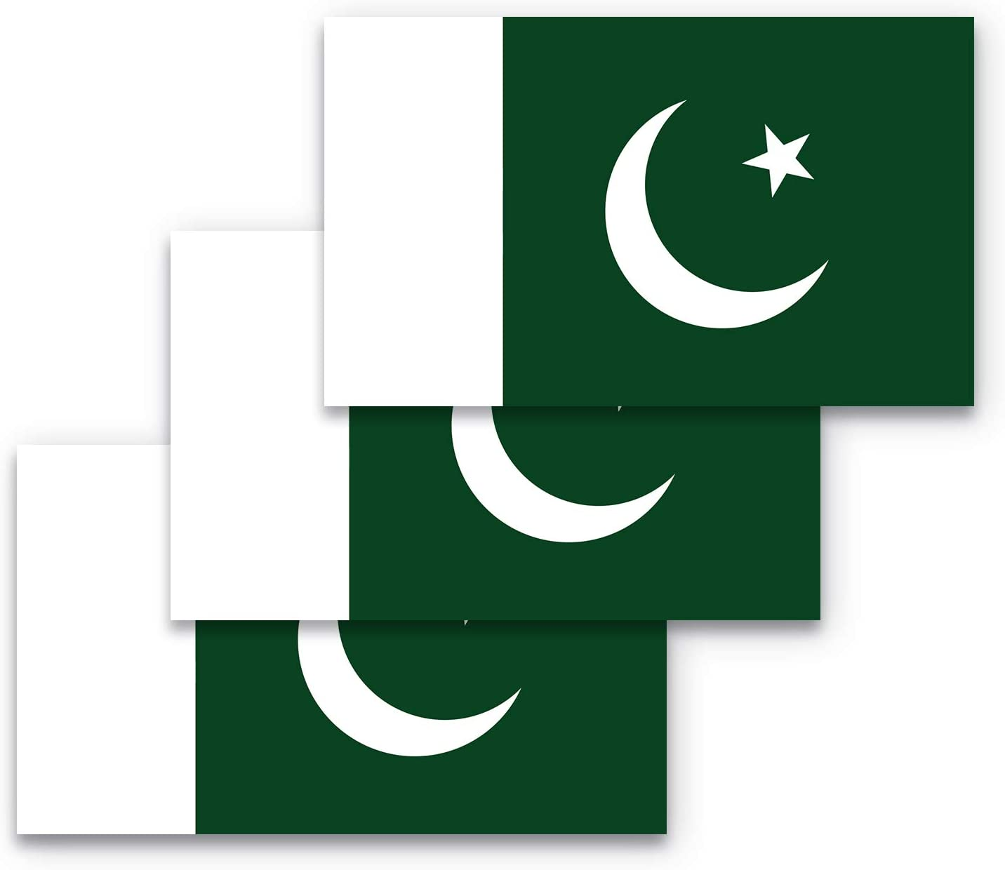 3x5 Pakistan Flag Bumper Sticker 3-Pack Made with Durable, Waterproof Materials, Pakistani Flag Bumper Sticker, Flag of Pakistan Bumper Sticker, Pakistan Bumper Sticker, Pakistan Sticker