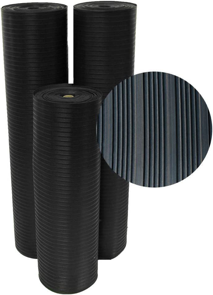 """Rubber-Cal 03_167_W_CO_08 Composite Rib Corrugated Rubber Floor Mats, 1/8"""" Thick x 3' x 8' Roll, Black"""