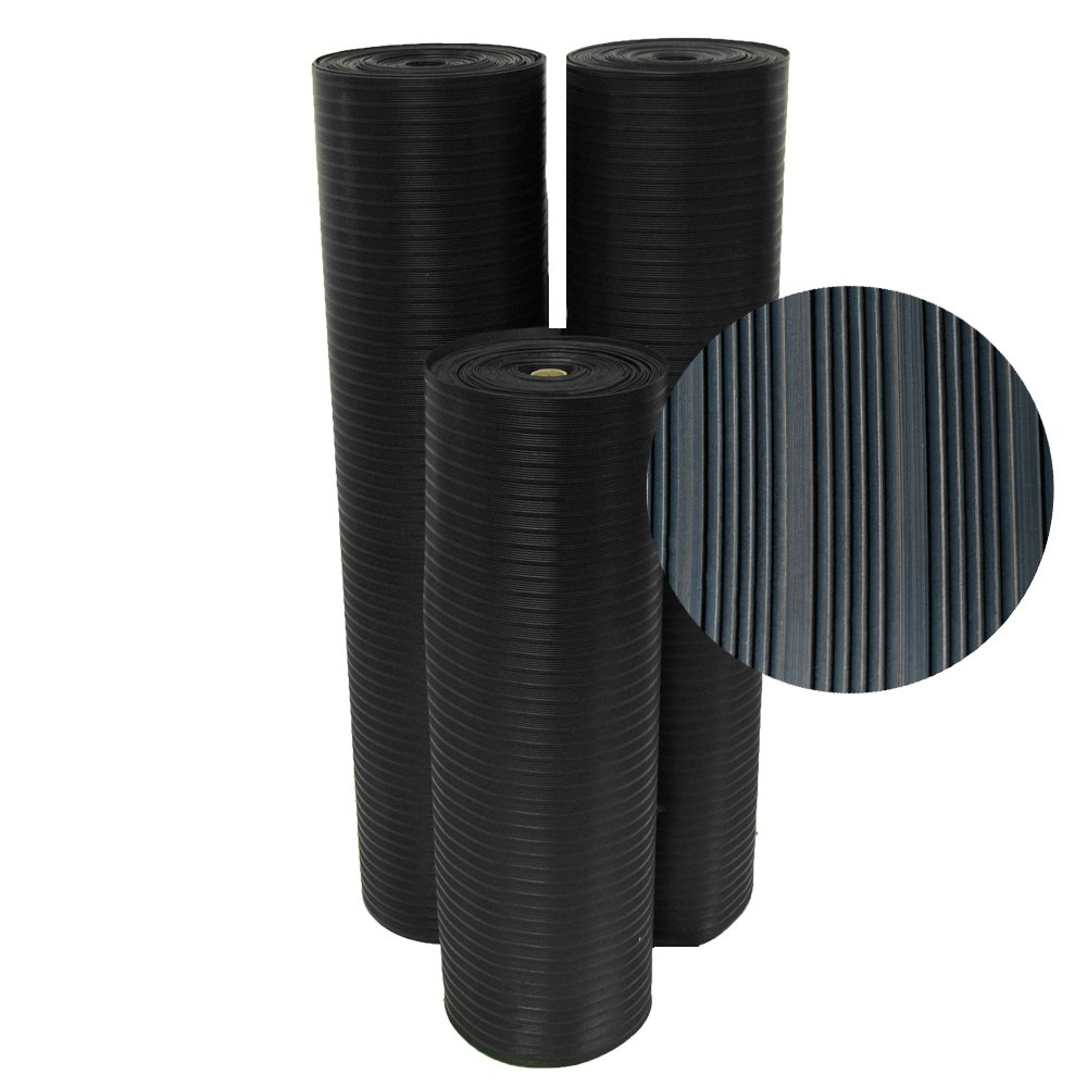 Rubber-Cal 03_167_W_CO_15 Composite Rib Corrugated Rubber Floor Mats, 1/8'' Thick x 3' x 15' Roll, Black