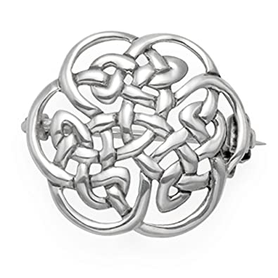 Sterling Silver Round Celtic Brooch - Size: 20mm Weight: 3gms. Gift Boxed silver Celtic brooch - 9018/HN 0V4LD