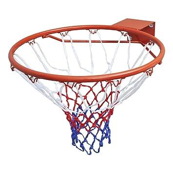 mewmewcat Aro de Baloncesto Interior y Exterior para Niños Chicos Adultos Azul, Rojo y Blanco, Diámetro de 45 cm