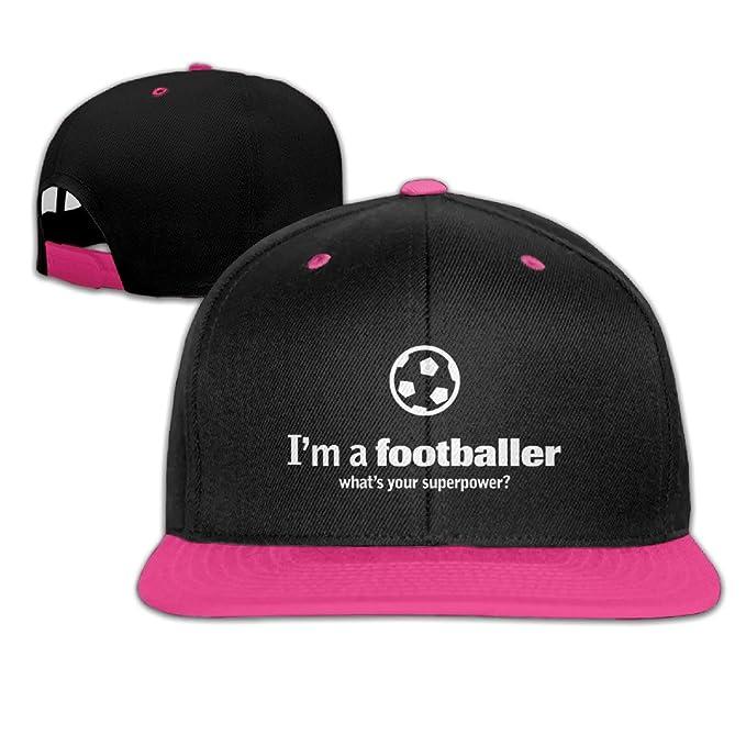 Soy un futbolista ¿Cuál es su superpotencia hip-hop snapback sombreros  personalizados rojo  Amazon.es  Ropa y accesorios db79dfc45a8