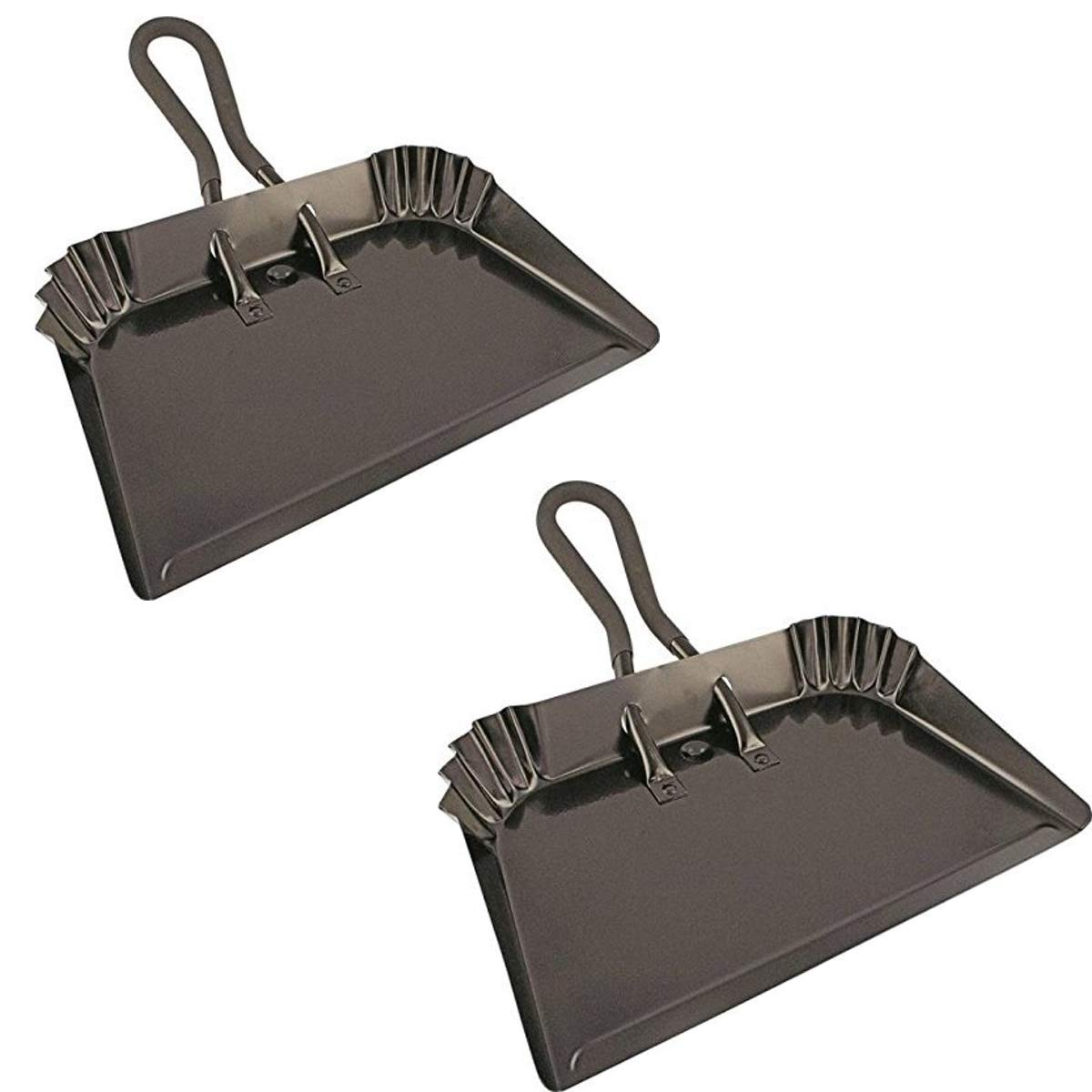 """Edward Tools Extra Large Industrial Metal Dust Pan 17"""" - Heavy Duty Powder Coated Steel does not chip or bend - Great for large cleanups - Rubber Grip Loop handle for comfort/hanging (2)"""