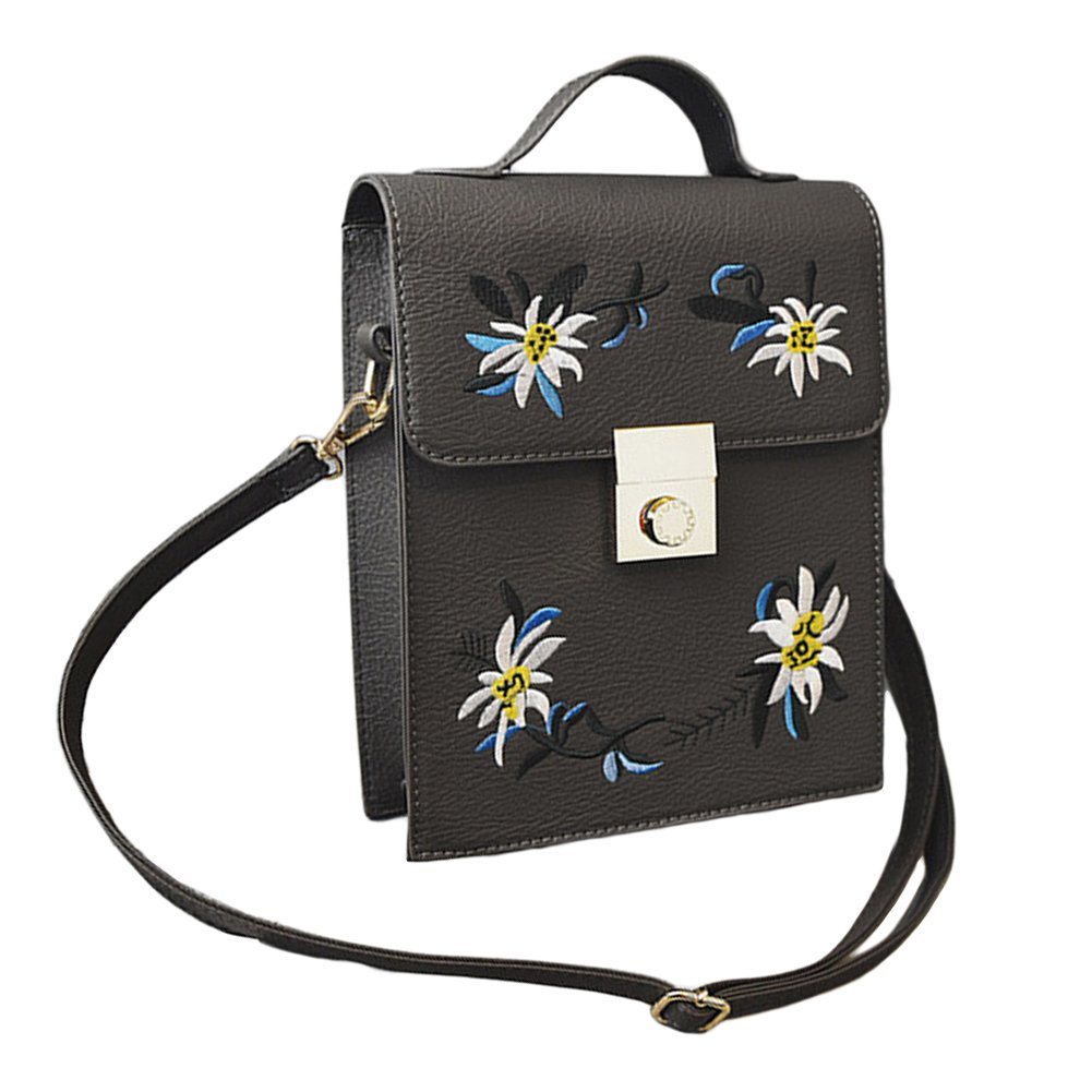 KingBig Lady鈥檚 Cross-Body Bag, Embroidery Flower Pattern Shoulder Bag with Buckle for Woman and Girls