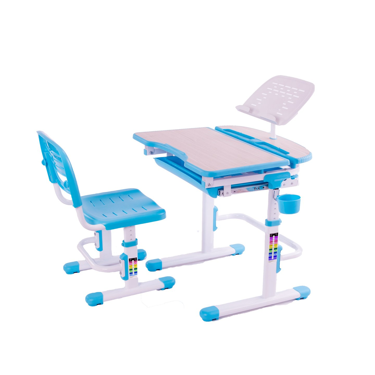 Reo-Smart ''Bobbie'' Deluxe Height Adjustable Children Desk & Chair Set. Interactive Work Station with Drawer Storage for Kids, Boys and Girls. Premium Ergonomic Design with Quality for Posture. (Blue)