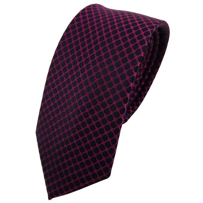 TigerTie - corbata de seda estrecha - magenta fuchsia negro ...