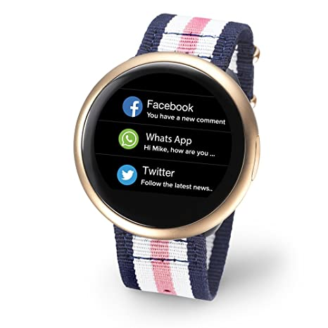 Reloj inteligente My Kronoz zeround 2 HR rosa blanco azul NATO