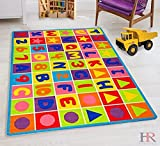 ABC Puzzle Letters and Numbers Kids Educational play mat For School/Classroom / Kids Room/Daycare/ Nursery Non-Slip Gel Back Rug Carpet-(5 by 7 feet)