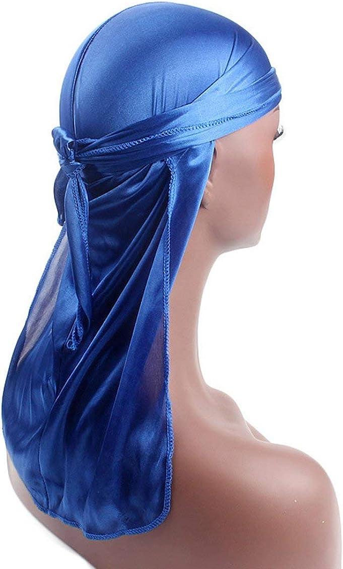 Satbir Alangh Herren Damen Seidensatin Atmungsaktiv Seidig Durag 360 Wave Cool Bandana Hut Turban Blau