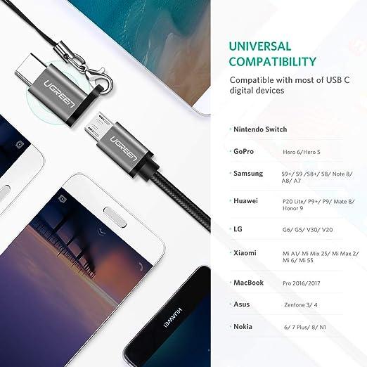 Amazon.com: UGREEN Micro USB C adaptador tipo C cargador ...