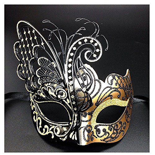 Venetian Masquerade Costume ([Flying Butterfly] Gold/Black Face with [Sparkling Wing] Laser Cut Metal Venetian Women Mask For Masquerade / Party / Ball Prom / Mardi Gras / Wedding / Wall Decoration)
