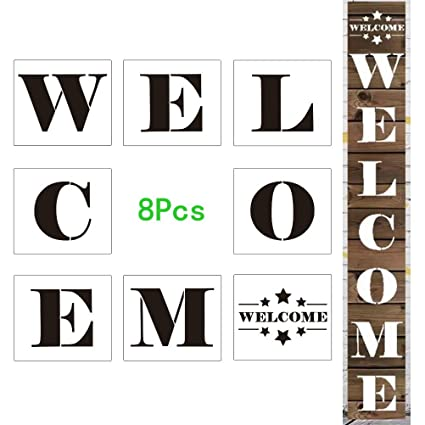 image regarding Welcome Sign Templates known as Reusable Enormous Lodge Welcome Indication Stencils,Preset of 8 Affected person Alphabet Templates for Manufacturing a Do it yourself Welcome Indication upon Picket, Paper, Cloth, Gl, and