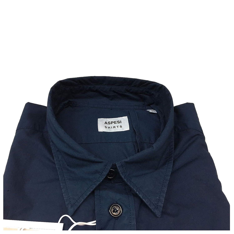 ASPESI Camicia Uomo Blu Doppio Taschino MOD RAF CE85 E030 100/% Cotone Made in Italy