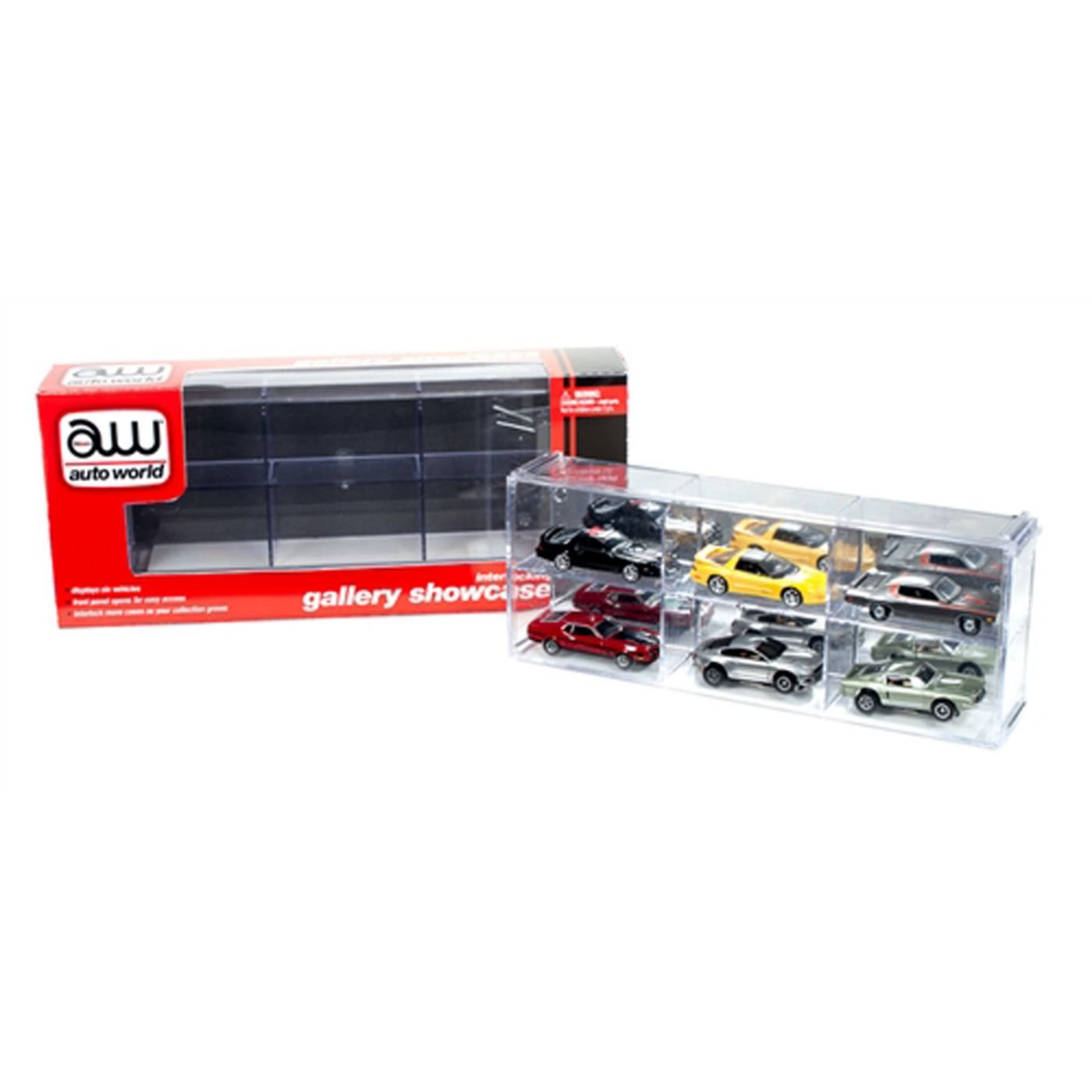 Interlocking 6 Cars Collectible Display Show case for 1 64 Scale Model Cars by Autoworld AWDC003