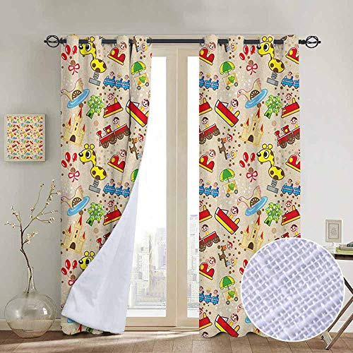 NUOMANAN Thermal Insulated Blackout Curtain Kids,Playground Toys Theme Locomotive Cars Ferris Giraffe Fairytale Castle Joyful Childhood, Multicolor,Blackout Draperies for Bedroom Living Room - Hood Victorian Wood