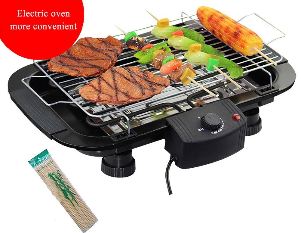 BMDHA Automatische Tragbare Elektronische Barbecue Grill Removable Smoke-Free-Modus Edelstahl Gegrillt Netzwerk 4 Geschenke (Outdoor/Haushalt/Camping)