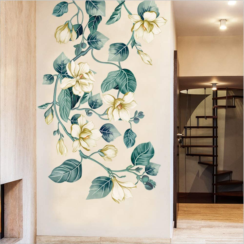 Adhesive for Living Room Bedroom Kitchen Playroom Nursery Room Cheerful Realistic Vibrant Greenish LLYDD Flower Wall Sticker Flower Leaves Garden Wall Stickers Decal Art Decor Peel and Stick Self