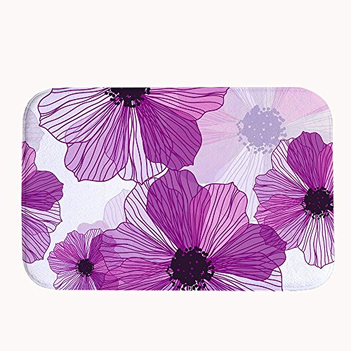 s Flowers Decorative Coral Fleece Non-Slip Doormats Water Absorption Bedside Rug And Mat 23.6
