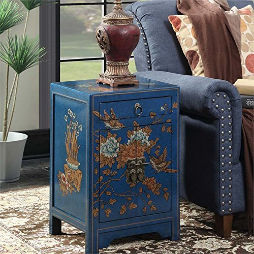 Convenience Concepts Touch of Asia 1-Drawer Cabinet End Table, (Hand Painted Console Cabinet)