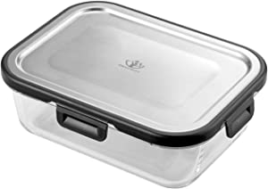 IDEALCRAFT Food Storage Container,4 Cup Bento Boxes with Premium 316 Stainless Steel Lid and Leak Proof Glass Meal Prep Freezer Dishwasher Microwave and Oven Safe