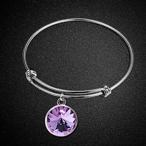 Silver Birthstone Charm Bangle Bracelet-Stainless Steel Adjustable Birth Crystal Cuff Bracelets for women