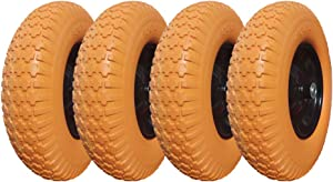 "4.00-8 Flat Free Wheelbarrow Tire, Flat-Free Tire 16 with 5/8"" Bearing Wheel, Foamed Polyurethane Tire for Garden Outdoor Cart Wagon, 3.5"" Hub (Set of 4)"