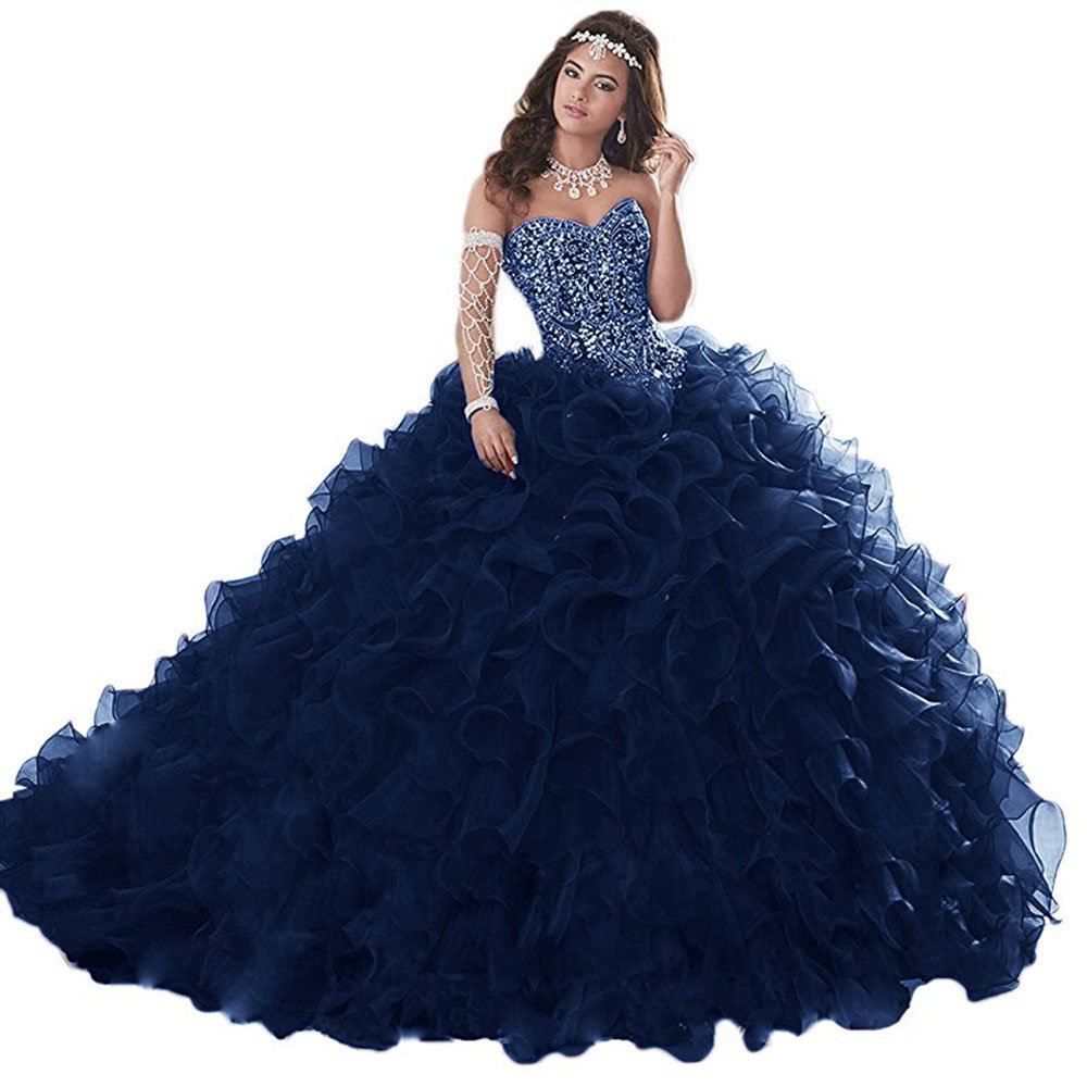 Navy Beautydress Gorgeous Heavily Beaded Long Quinceanera Dresses For Sweet 16 Ball Gown