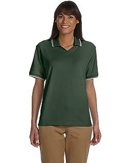 Devon /& Jones Womens Johnny Collar Perfect Polo Shirt DILL//NAVY X-Large