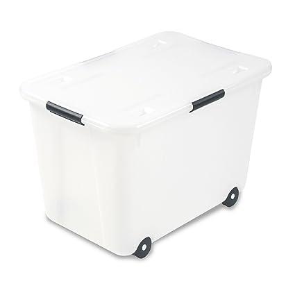 Amazon Com Advantus 34009 Rolling Storage Box Letter Legal 15 Gallon Size Clear Kitchen Dining