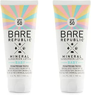 product image for Bare Republic Mineral SPF 50 Baby Sunscreen Lotion. Unscented and Gentle Sunscreen Lotion with SPF 50 for Babies 6 Months and Older (3.4 Ounces) 2 Pack.