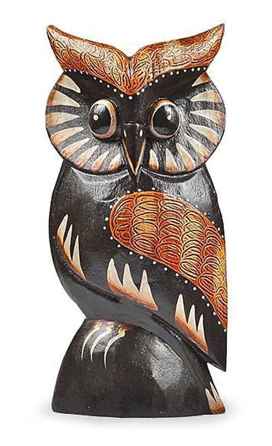 Figura de gato Nele en 3 de unidades de madera de albesia marrón, altura 60