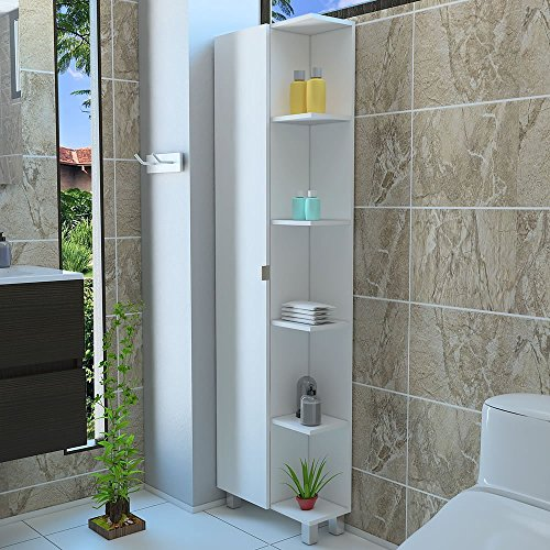 5 Side shelf Tall Corner Bathroom Cabinet Storage With 1 Door, White