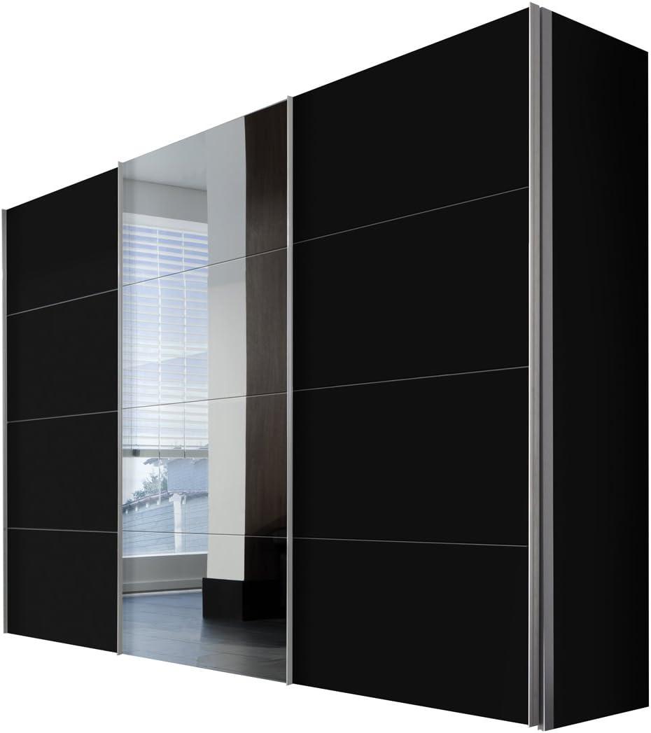 Solutions 49840 – 708 – Armario de Puertas correderas (3 Puertas, Estructura y Frontal Negro, Espejo, Mango Listones alufarben, 68 x 300 x 216 cm: Amazon.es: Hogar