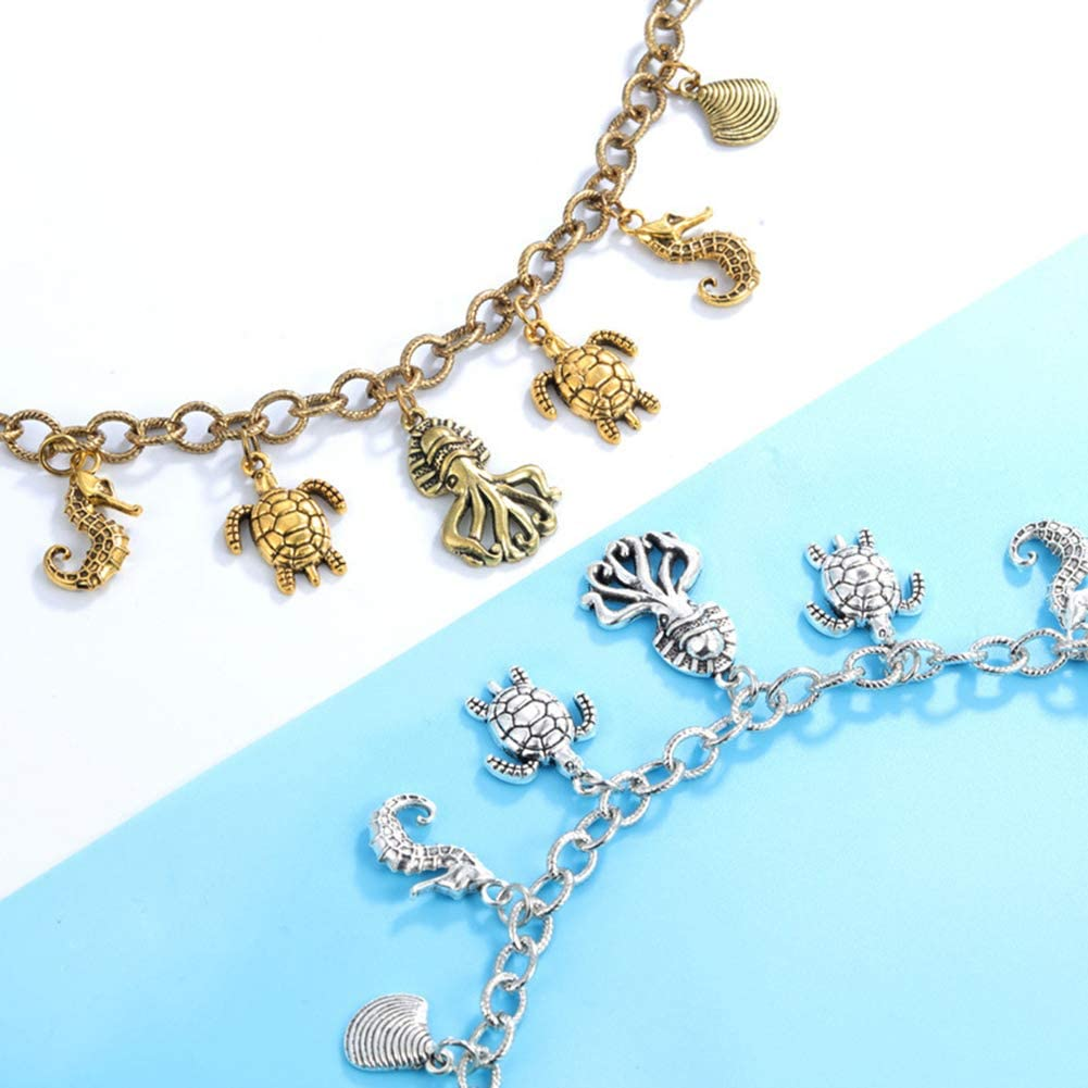nuiOOui131-Ankle Bracelet,Women Turtle Seahorse Octopus Shell Charm Chain Anklet Ankle Bracelet Jewelry Golden