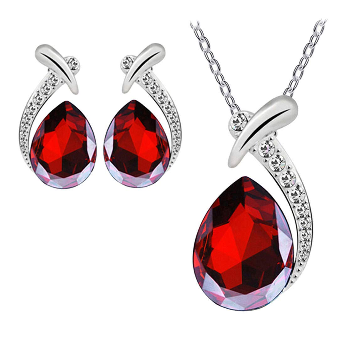 FRCOLT Women Crystal Pendant Silver Plated Chain Necklace Stud Earrings Jewelry Set (Red, alloy+Crystal)