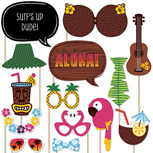 Big Dot of Happiness Tiki Luau - Tropical Hawaiian Summer Party Photo Booth Props Kit - 20 Count -