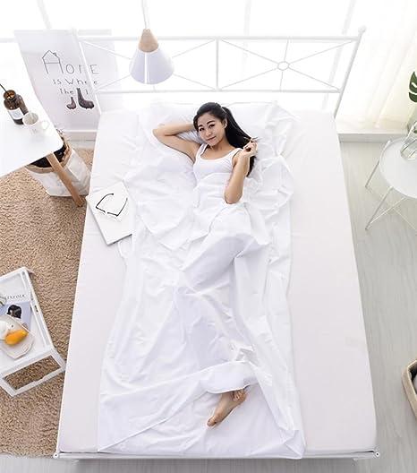 Saco de dormir al aire libre forro de algodón blanco tela portátil ultraligero solo / doble saco de dormir que acampa bolsa de dormir nuevos kits de viaje: Amazon.es: Deportes y aire