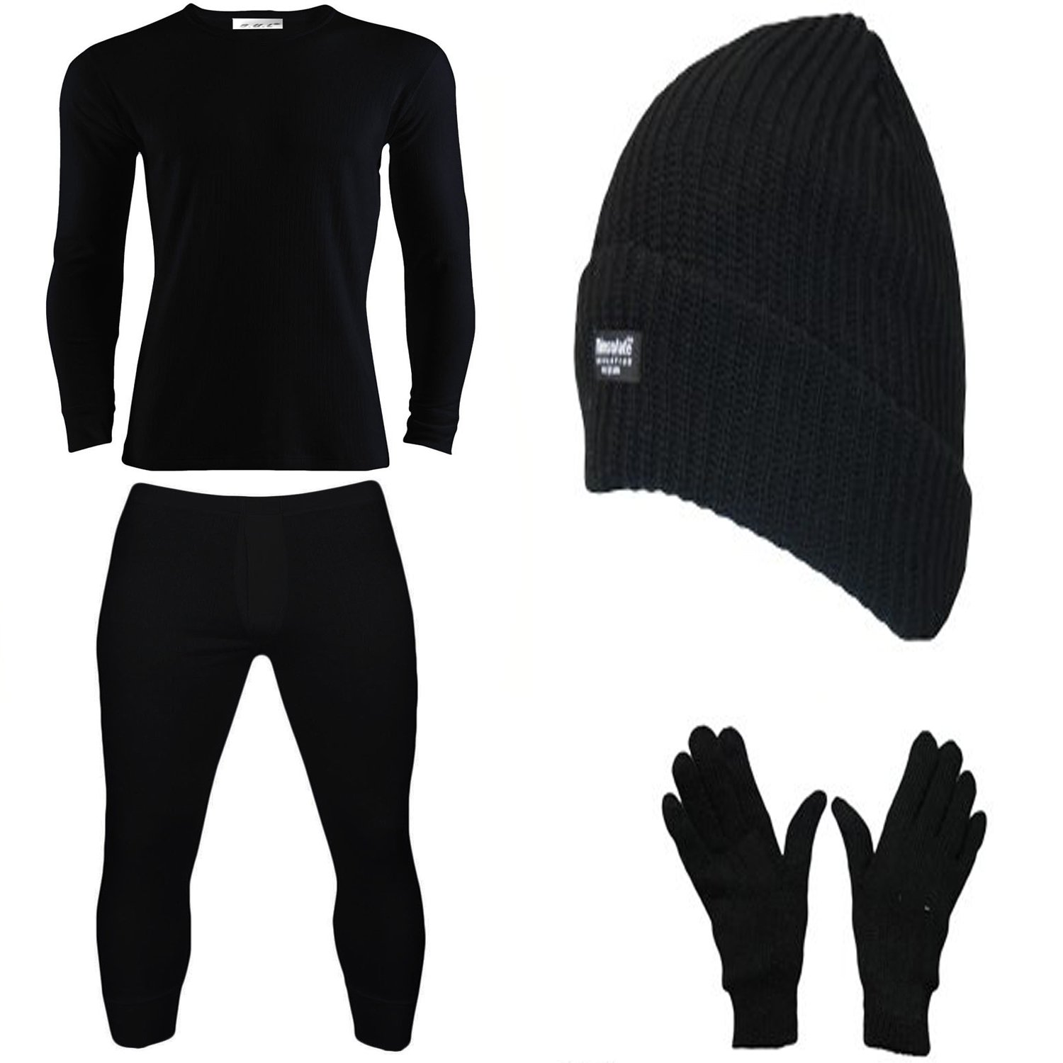 Mens Hot Thermal Underwear Set Long Sleeve Vest & Long Johns with Hat Glove Suitable for Winter, Outdoor Work, Travel, Camping & Ski Wear Size S-XXL