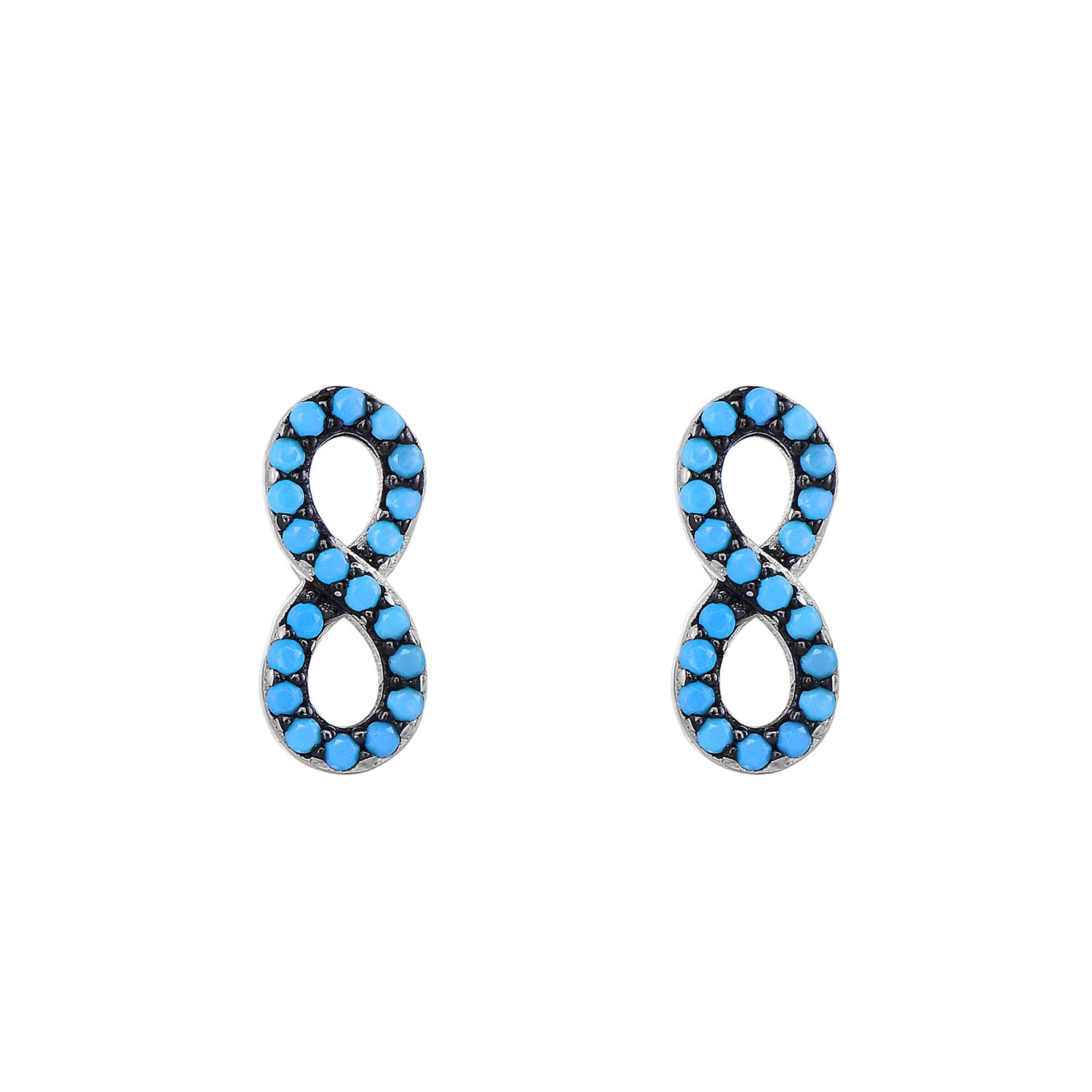 925 Sterling Silver Turquoise Infinity Symbol Post Earrings. (Natural Silver)