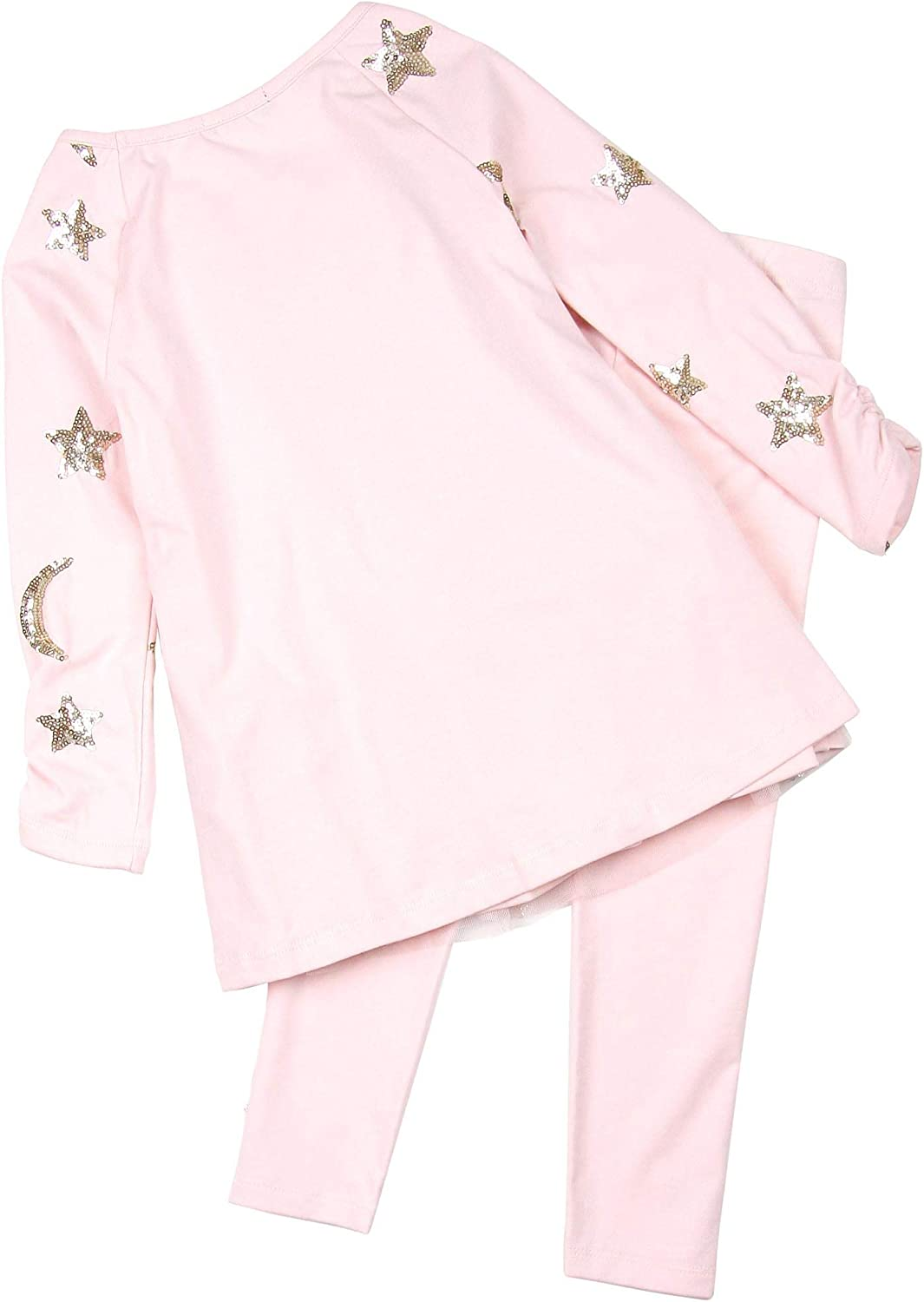 Sizes 4-12 Kate Mack Girls Moon and Stars Tunic and Leggings Set in Pink