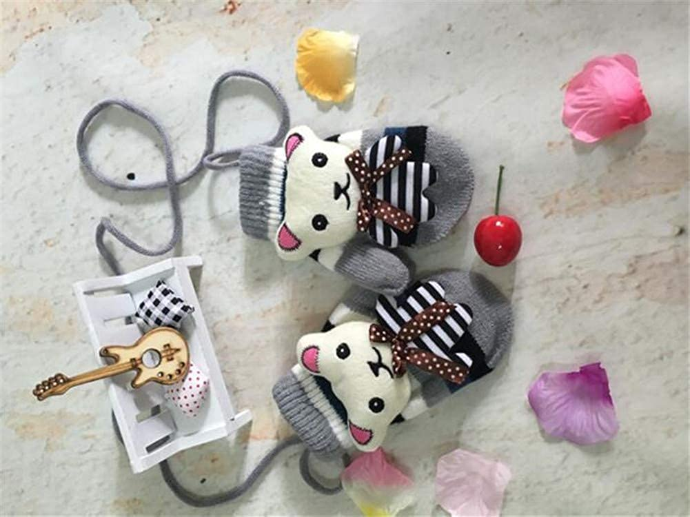 Child Cute Cartoon Knit Mittens Winter Warm Plush Lined Hand Warmer Full Finger Ski Gloves for Cold Weather Little Kids