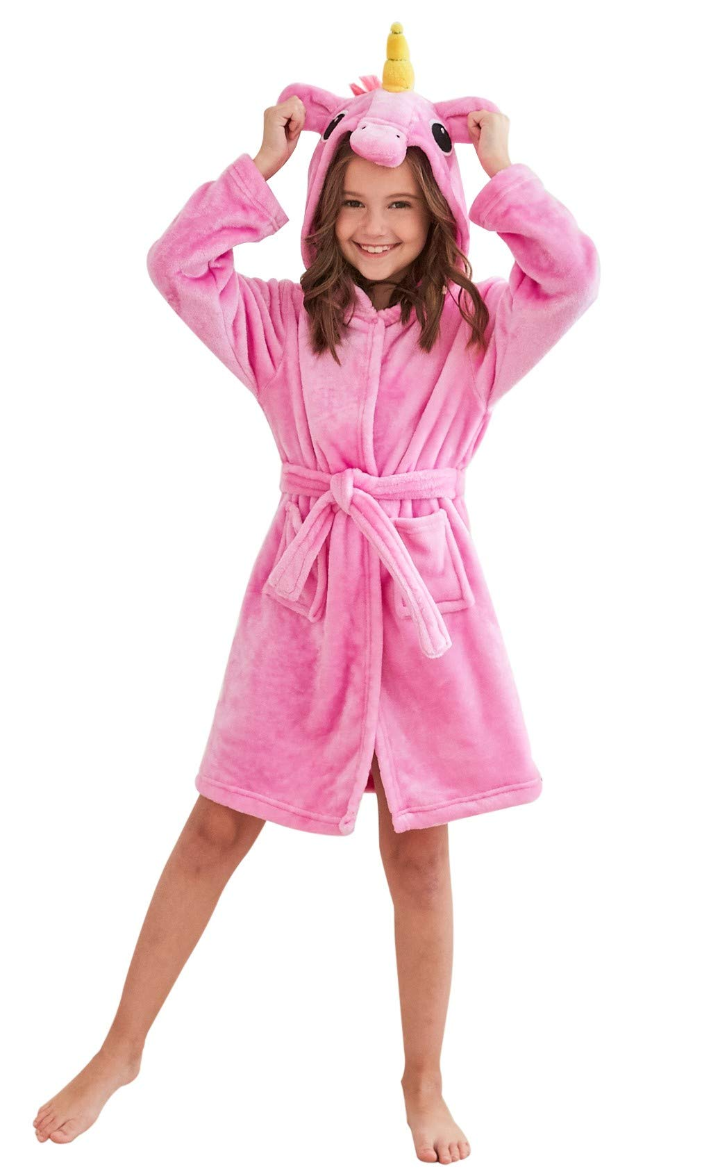 Soft Unicorn Hooded Bathrobe Sleepwear - Unicorn Gifts for Girls (7-9 Years, Pink Sleepwear)