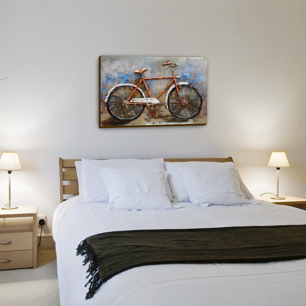 MPUS2016DS0325 Stereograph Oil Painting Ready to Hang Sculpture Artwork 30 x 20 inch 100/% Handmade Metal Unique Wall Art Asmork 3D Metal Art Home Decor Bicycle